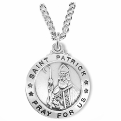1 Inch Sterling Silver Round St. Patrick Medal, Patron of Ireland