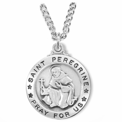 1 Inch Sterling Silver Round St. Peregrine Medal, Patron of Cancer