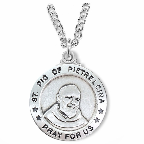 1 Inch Sterling Silver Round St. Pio of Pietrelcina Medal, Patron of Healing