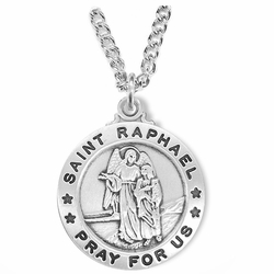 1 Inch Sterling Silver Round St. Raphael Medal, Patron of Doctors