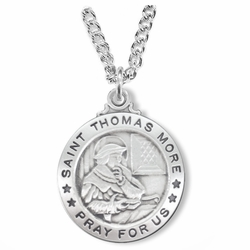 1 Inch Sterling Silver Round St. Thomas More Medal, Patron of Lawyers and Politicians