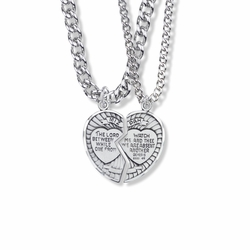 1 Inch Sterling Silver Two Piece Mizpah Heart Medal