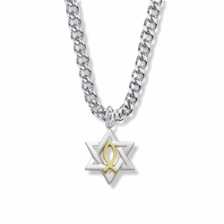 1 Inch Sterling Silver Two-Tone Star of David with Fish Symbol Necklace