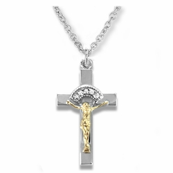 1 Inch Sterling Silver Two-Tone with CZ Stones Crucifix Necklace