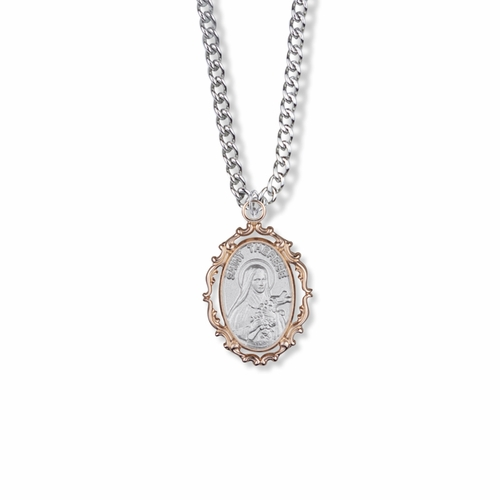 1 Inch Sterling Silver with Decorative Rose Gold Plating Oval St. Theresa Medal, Patron of Aviation and Missions