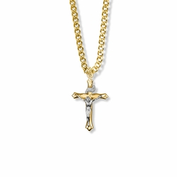 1 Inch Two-Tone 14K Gold Over Sterling Silver Budded Crucifix Necklace