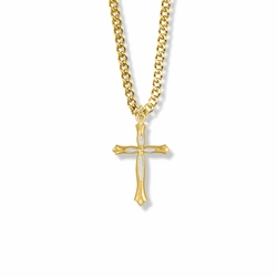 1 Inch Two-Tone 14K Gold Over Sterling Silver Budded Ends Cross Necklace