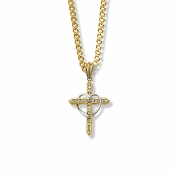 1 Inch Two-Tone 14K Gold Over Sterling Silver Heart and Cross Necklace with Cubic Zirconia Stones