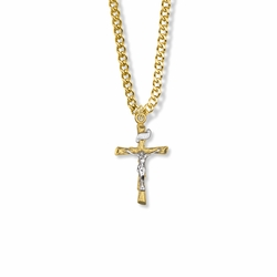 1 Inch Two-Tone 14K Gold Over Sterling Silver Wooden Log Crucifix Necklace