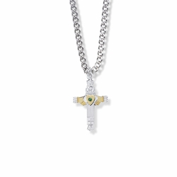 1 Inch Two-Tone Sterling Silver Claddagh Cross Necklace