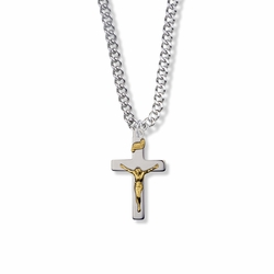 1 Inch Two-Tone Sterling Silver Crucifix Necklace