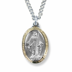 1 Inch Two Tone Sterling Silver Oval Miraculous Medal