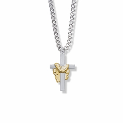 1 Inch Two-Tone Sterling Silver Robe Cross Necklace