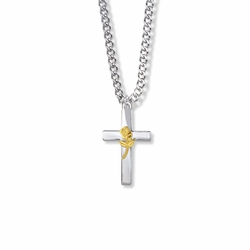 1 Inch Two-Tone Sterling Silver Rose on Cross Necklace