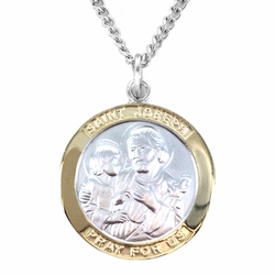 1 Inch Two Tone Sterling Silver St. Joseph Medal, Patron of Carpenters/Workers