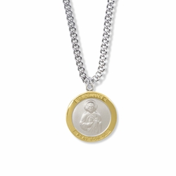 1 Inch Two Tone Sterling Silver St. Jude Medal, Patron of Hopeless Causes