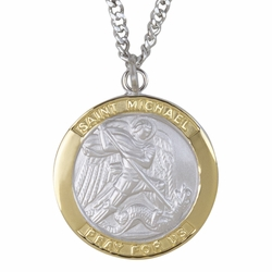 1 Inch Two Tone Sterling Silver St. Michael Medal, Patron of Police