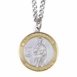 1 Inch Two Tone Sterling Silver St. Peregrine Medal, Patron of Cancer