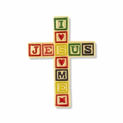 1 x 11/16 Inch Gold and Enameled I Love Jesus/Jesus Loves Me Lapel Pin