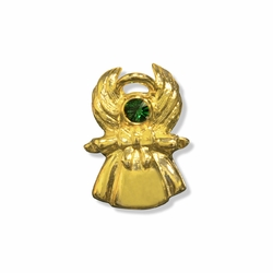 1 x 11/16 Inch Gold Emerald Angel Lapel Pin