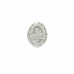 1 x 3/4 Inch Pewter Oval St. Joseph, Patron of Workers/Carpenters Pin
