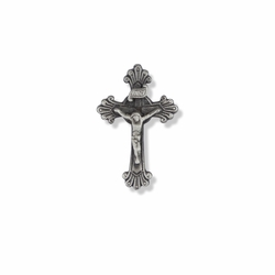 1 x 5/8 Inch Pewter Budded Ends Crucifix Pin