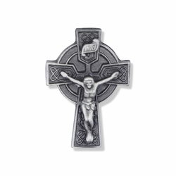 1 x 5/8  Inch Pewter Celtic Crucifix Pin