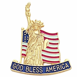 1 x 7/8 Inch God Bless America American Flag/Statue of Liberty Lapel Pin