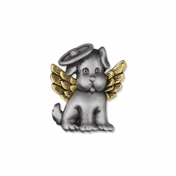 1 x 7/8 Inch Pewter and Gold Dog Angel Lapel Pin