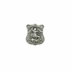 1 x 7/8 Inch Pewter Shield St. Michael, Patron of Police Pin