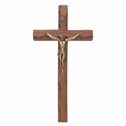 10 Inch Carved Wood Wall Crucifix with Antiqued Gold Pewter Corpus