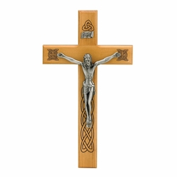 10 Inch Maplewood and Antiqued Pewter Celtic Holy Trinity Wall Crucifix