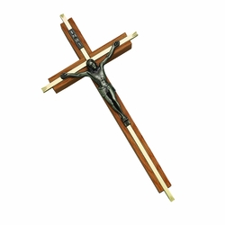 10 Inch Oak and Gold Plated Wall Crucifix with Pewter Corpus