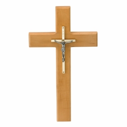 10 Inch Maplewood, Brass, and Pewter Wall Crucifix