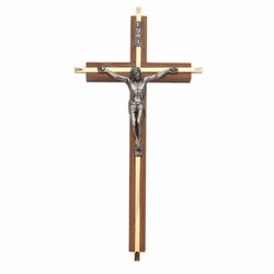 10 Inch Walnut and Brass Wall Crucifix with Antiqued Pewter Corpus