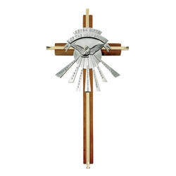 10 Inch Wood and Brass Holy Spirit Wall Cross with Centered Pewter Dove