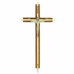 10 Inch Wood and Metal Risen Christ Wall Cross