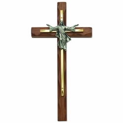 10 Inch Wood and Screened Brass Cross with Risen Christ
