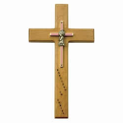 10 Inch Personalized Baptism Baby Girl Maple Wood and Brass Wall Cross