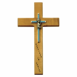 10 Inch Personalized Baptism Baby Boy Maple Wood and Brass Wall Cross