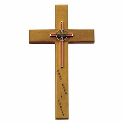 9-3/4 Inch Confirmed in Christ Maple Wood and Brass Wall Cross