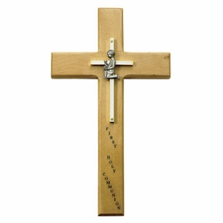 10 Inch Personalized First Communion Boy Maple Wood and Brass Wall Cross