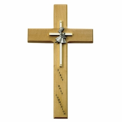 10 Inch Personalized First Communion Girl Maple Wood and Brass Wall Cross