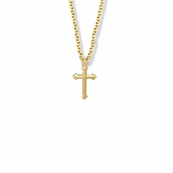 11/16 Inch 14K Gold Filled Budded Ends Cross Necklace
