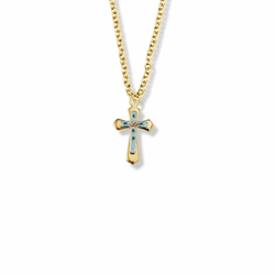 11/16 Inch 14K Gold Filled Enameled Rose and Pointed Ends Cross Necklace