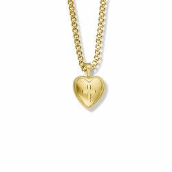 11/16 Inch 14K Gold Filled Engraved Cross on Heart Locket Necklace