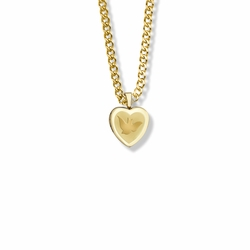 11/16 Inch 14K Gold Filled Engraved Dove and Heart Locket Necklace