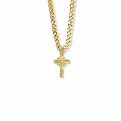 11/16 Inch 14K Gold Filled Filigree and Flared Cross Necklace