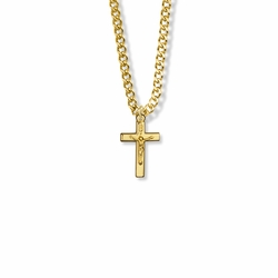 11/16 Inch 14K Gold Filled Small Crucifix Necklace
