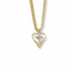 11/16 Inch 14K Gold Over Sterling Silver Enameled Filigree Cross and Heart Necklace